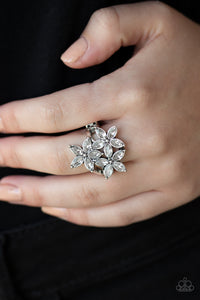 Paparazzi Gardenia Grandeur - White Rhinestone Petals - Trio of Flowers - Ring - Lauren's Bling $5.00 Paparazzi Jewelry Boutique