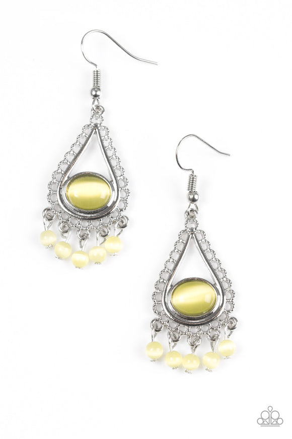 Paparazzi Give Me The GLOW-down - Yellow Moonstone - Teardrop Earrings