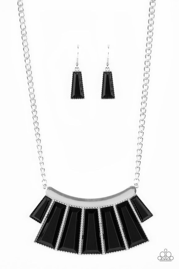 Paparazzi Glamour Goddess - Black Emerald Beads - Silver Necklace and matching Earrings - Life of the Party Exclusive August 2019