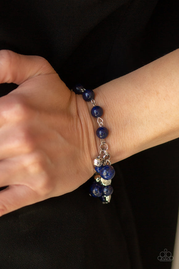 Paparazzi Glossy Glow - Blue - Silver Charms - Adjustable Clasp - Silver Chain Bracelet - Lauren's Bling $5.00 Paparazzi Jewelry Boutique