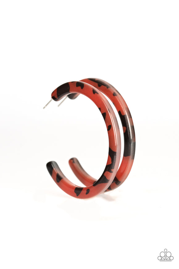 Paparazzi HAUTE-Blooded - Brown - Tortoise Shell Pattern - Acrylic Hoop Earrings