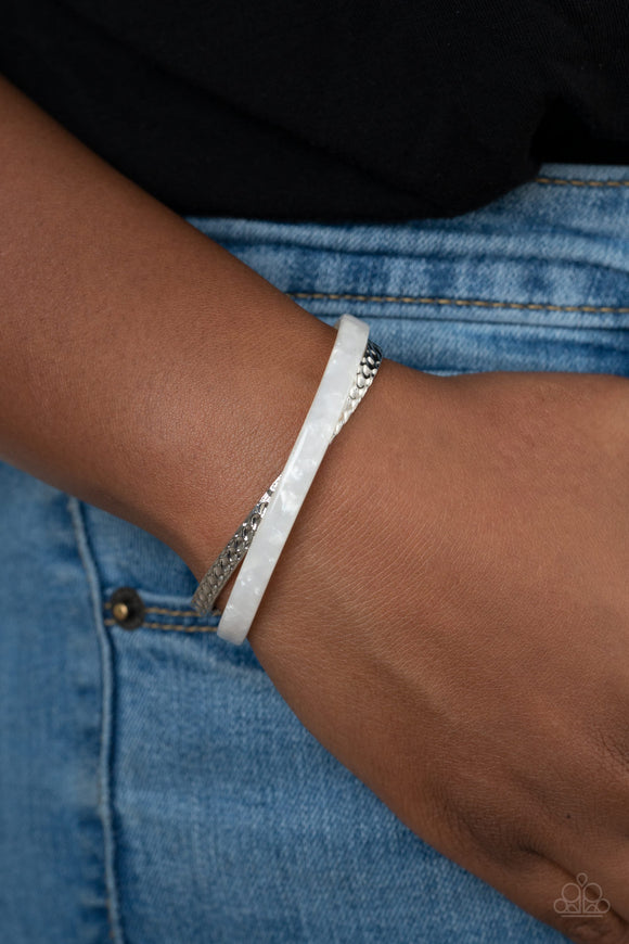 Paparazzi HAUTE On The Trail - White - Cuff Bracelet - Lauren's Bling $5.00 Paparazzi Jewelry Boutique
