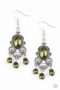 Paparazzi I Better Get GLOWING - Green Pearly Beads - White Rhinestones - Silver Earrings - Lauren's Bling $5.00 Paparazzi Jewelry Boutique