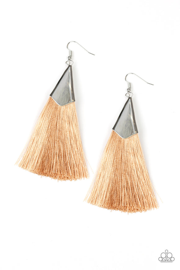 Paparazzi In Full PLUME - Brown - Thread / Fringe / Tassel Earrings