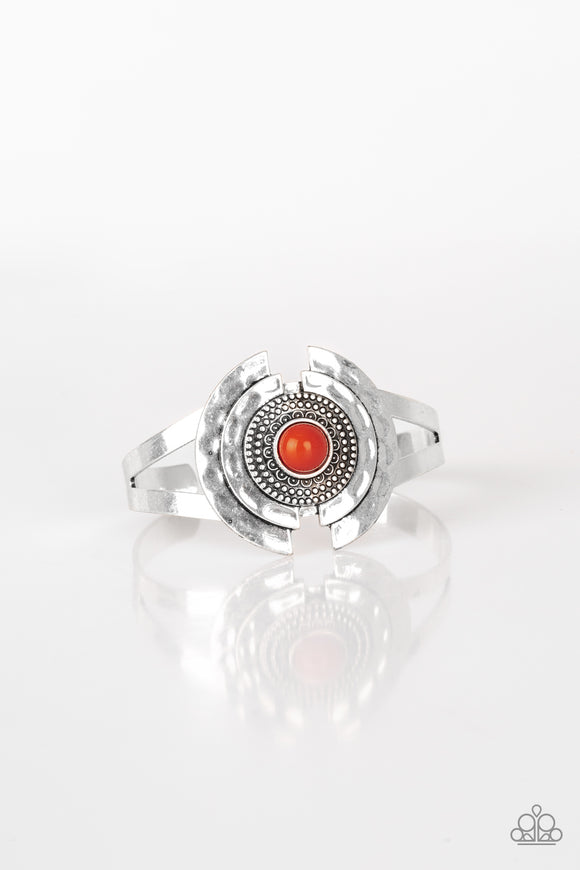 Paparazzi Incredibly Indie - Orange Bead - Silver Antiqued Cuff Bracelet - Lauren's Bling $5.00 Paparazzi Jewelry Boutique
