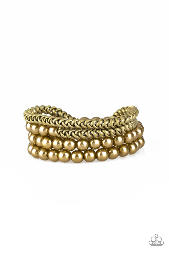 Paparazzi Industrial Incognito - Brass Beads - Brass Chains Stretchy Bands - Set of 4 Bracelets - Lauren's Bling $5.00 Paparazzi Jewelry Boutique