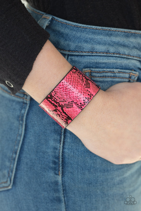 Paparazzi Its a Jungle Out There - Pink - Python Print - Leather Band - Bracelet