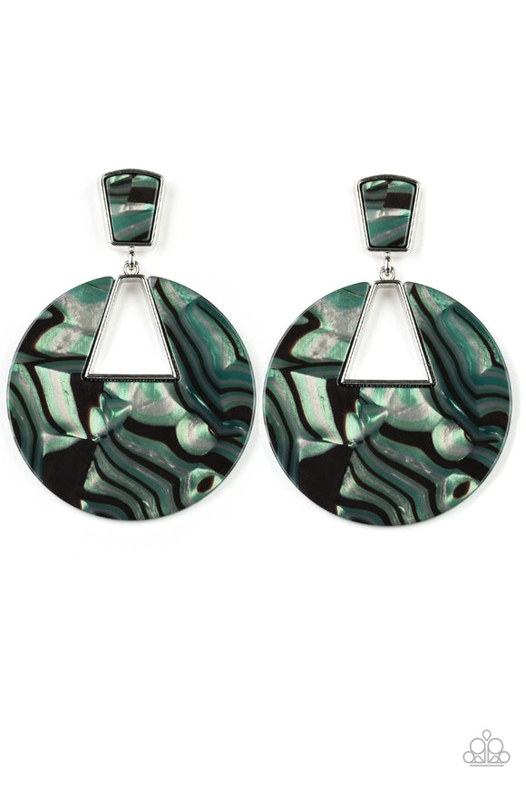 Paparazzi Let HEIR Rip! - Green - Faux Marble - Acrylic Earrings