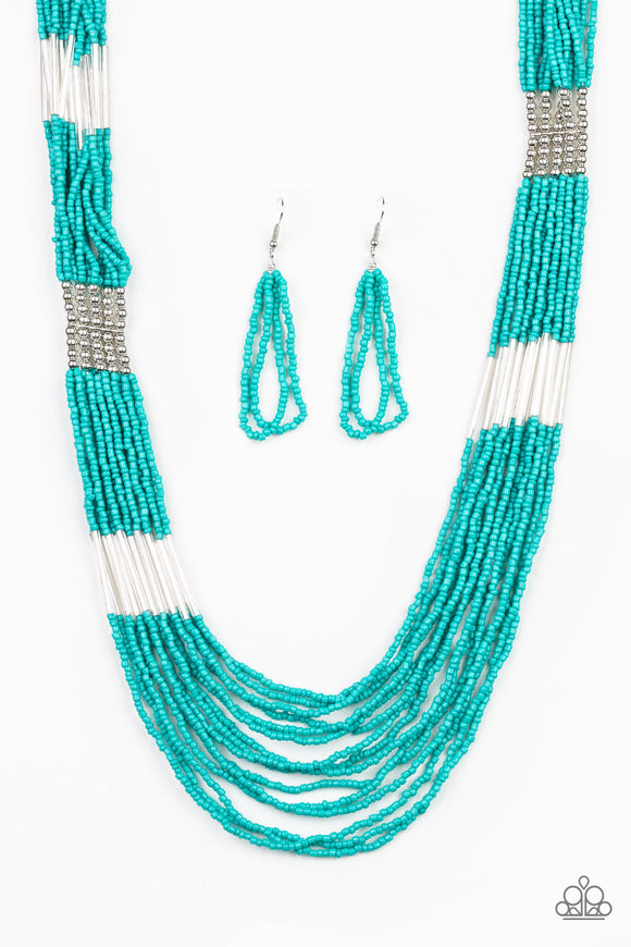 Paparazzi Let It BEAD - Blue Turquoise - Seed Beads - Necklace and matching Earrings