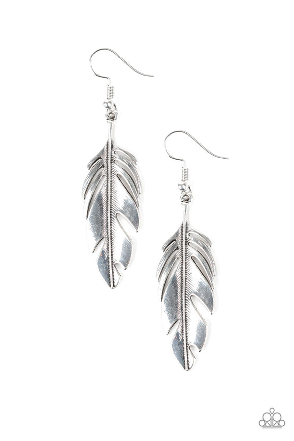 Paparazzi Lookin Fly - Silver - Feather Earrings - Lauren's Bling $5.00 Paparazzi Jewelry Boutique