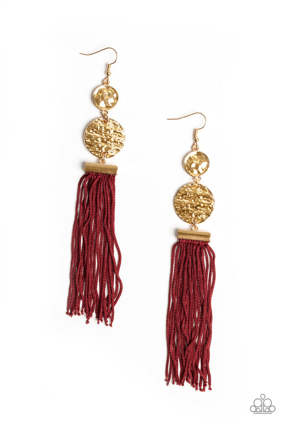 Paparazzi Lotus Gardens -  - Red Cording / Thread / Tassel Streams - Gold Hammered Discs - Earrings