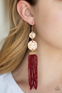 Paparazzi Lotus Gardens -  - Red Cording / Thread / Tassel Streams - Gold Hammered Discs - Earrings - Lauren's Bling $5.00 Paparazzi Jewelry Boutique