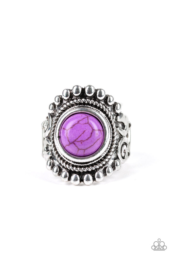 Paparazzi Nomad Drama - Purple Stone - Silver Ring - Lauren's Bling $5.00 Paparazzi Jewelry Boutique