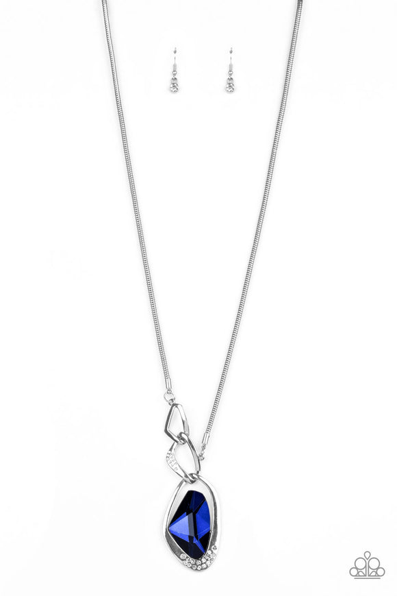 Paparazzi Optical Opulence - Blue Gem - White Rhinestones - Silver Necklace - Life of the Party Exclusive December 2019