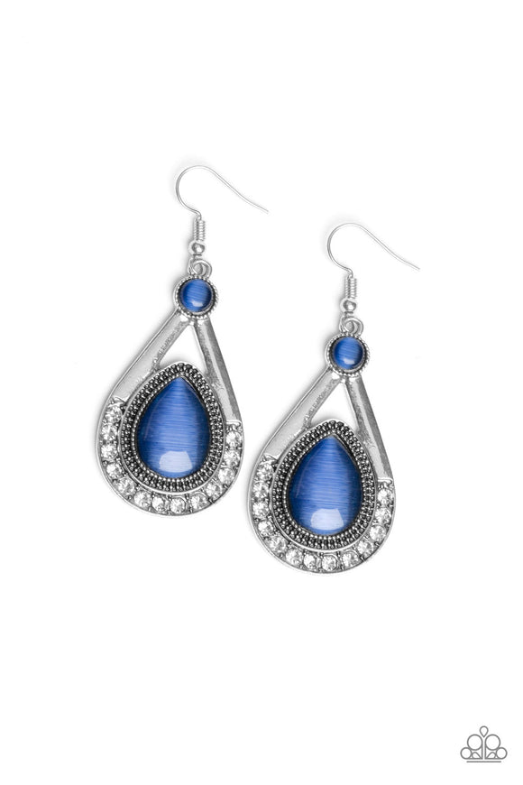 Paparazzi Pro Glow - Blue - Cat's Eye Moonstone - Silver Teardrop Frame - Earrings