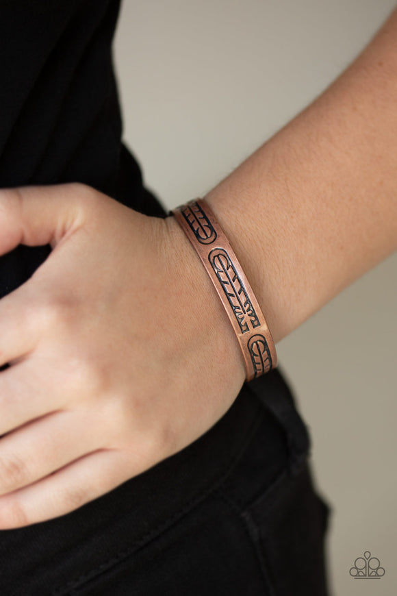 Paparazzi Roost Radiance - Copper - Stamped Feather Antiqued Copper - Cuff Bracelet - Lauren's Bling $5.00 Paparazzi Jewelry Boutique