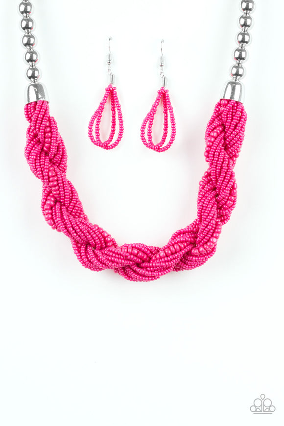 Paparazzi Savannah Surfin - Pink Seed Beads - Silver Chain Necklace and matching Earrings