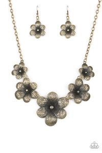 Paparazzi Secret Garden - Brass - Flowers - Necklace and matching Earrings