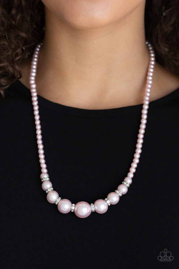 Paparazzi SoHo Sweetheart - Pink Pearls - White Rhinestones - Necklace & Earrings - Lauren's Bling $5.00 Paparazzi Jewelry Boutique