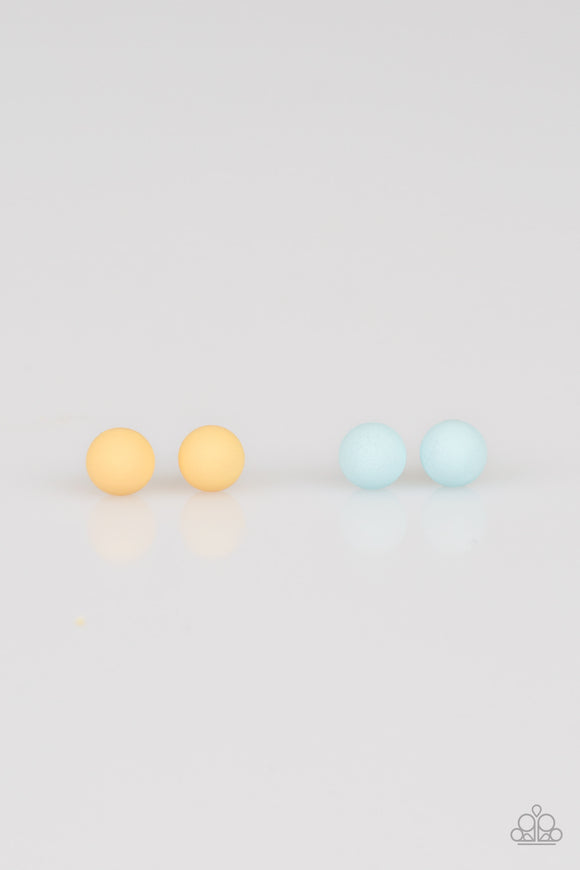 Paparazzi Starlet Shimmer - Girls - Set of 10 pair of Earrings - Post Pearls - Yellow Blue and Orange