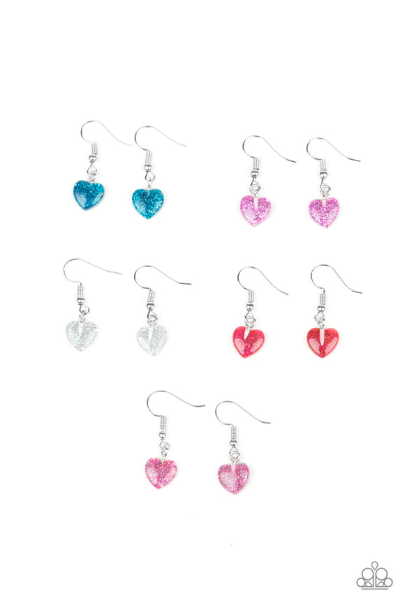 Paparazzi Starlet Shimmer Earrings - 10 - Hearts in Blue, Purple, White, Red and Pink