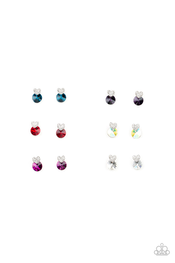 Paparazzi Starlet Shimmer Post Earrings - 10 - Heart and Rhinestones Frame in Blue, Purple, Red, Pink and White
