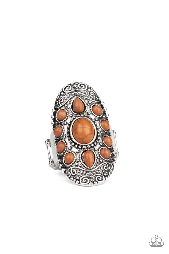 Paparazzi Stone Sunrise - Brown Stone Beads - Silver Embossed Studded Filigree - Ring - Lauren's Bling $5.00 Paparazzi Jewelry Boutique