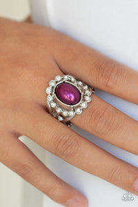 Paparazzi Sugar-Coated Splendor - Purple Pearly Center- White Rhinestones - Ring - Lauren's Bling $5.00 Paparazzi Jewelry Boutique