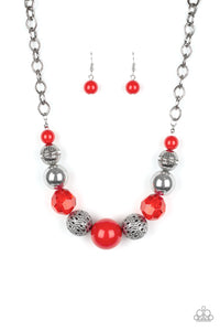Paparazzi Sugar, Sugar - Red Beads - Silver Necklace and matching Earrings - Lauren's Bling $5.00 Paparazzi Jewelry Boutique