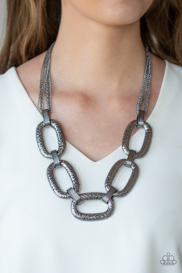 Paparazzi Take Charge - Black - Gunmetal Chains - Hammered Links - Necklace and matching Earrings - Life of the Party Exclusive October 2019 - Lauren's Bling $5.00 Paparazzi Jewelry Boutique