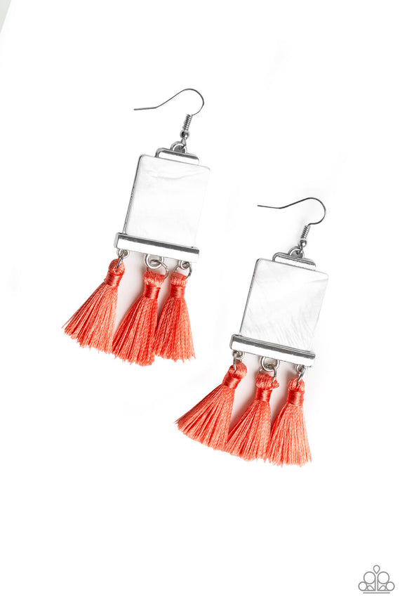 Paparazzi Tassel Retreat - Orange / Coral - Thread / Fringe - Shell like Earrings