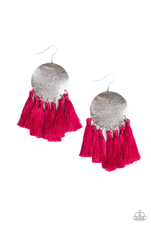 Paparazzi Tassel Tribute - Pink - Thread / Fringe - Silver Disc - Earrings