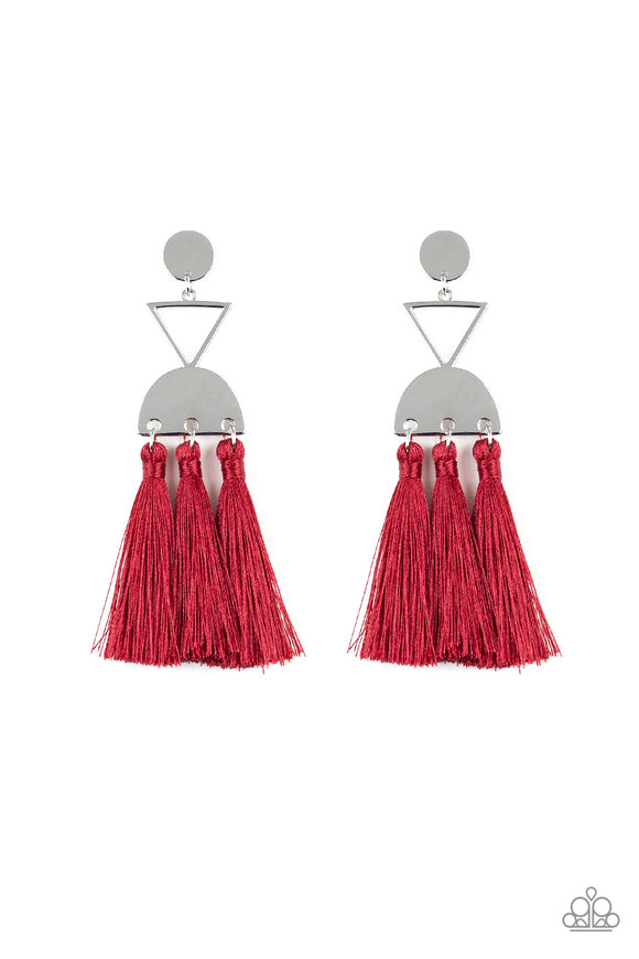 Paparazzi Tassel Trippin - Red - Thread / Fringe / Tassel - Silver Disc - Post Earrings