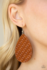 Paparazzi Teardrop Trend - Brown - Leather Teardrop - Basket Weave - Earrings - Lauren's Bling $5.00 Paparazzi Jewelry Boutique