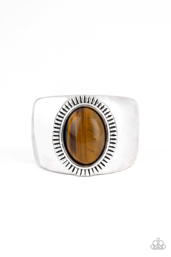 Paparazzi The Prospector - Brown - Tiger's Eye Gemstone - Thick Silver Band Ring