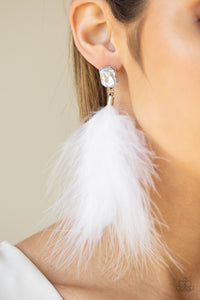 Paparazzi The SHOWGIRL Must Go On! - White - Soft Feather - White Rhinestones - Earrings - Lauren's Bling $5.00 Paparazzi Jewelry Boutique