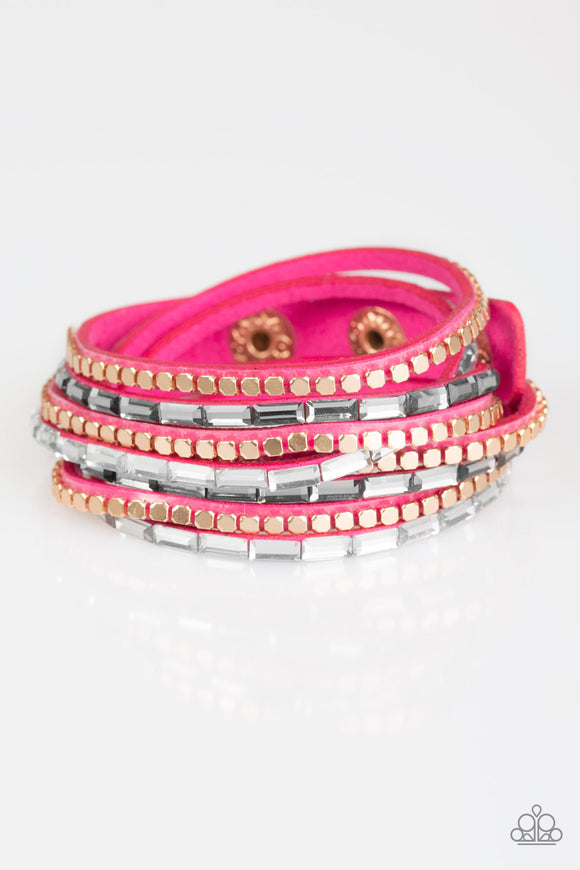 Paparazzi This Time With Attitude - Pink - Emerald Cut Rhinestones - Double Wrap Bracelet
