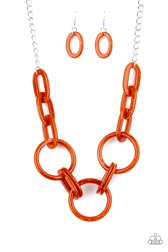 Paparazzi Turn Up The Heat - Orange - Acrylic Links - Silver Chain Necklace and matching Earrings