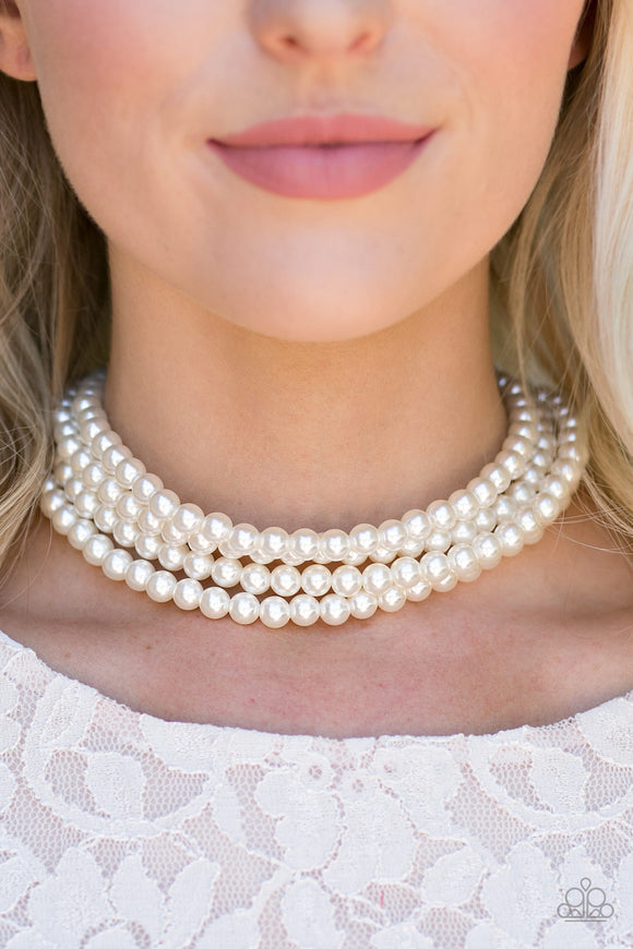 Paparazzi ENCORE EXCLUSIVE 2020 - Vintage Romance - White Pearls - Choker - Necklace & Earrings!