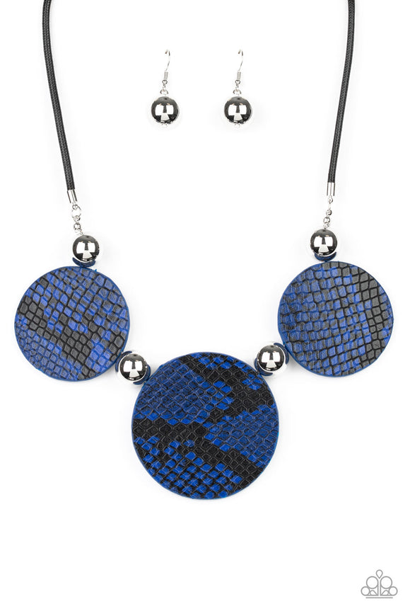Paparazzi Viper Pit - Blue - Python Leather - Necklace & Earrings