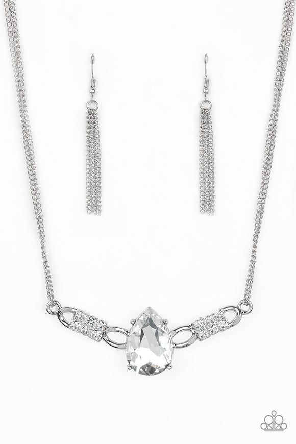 Paparazzi Way To Make An Entrance - White Rhinestone Gem Necklace - Life of the Party Exclusive July 2019