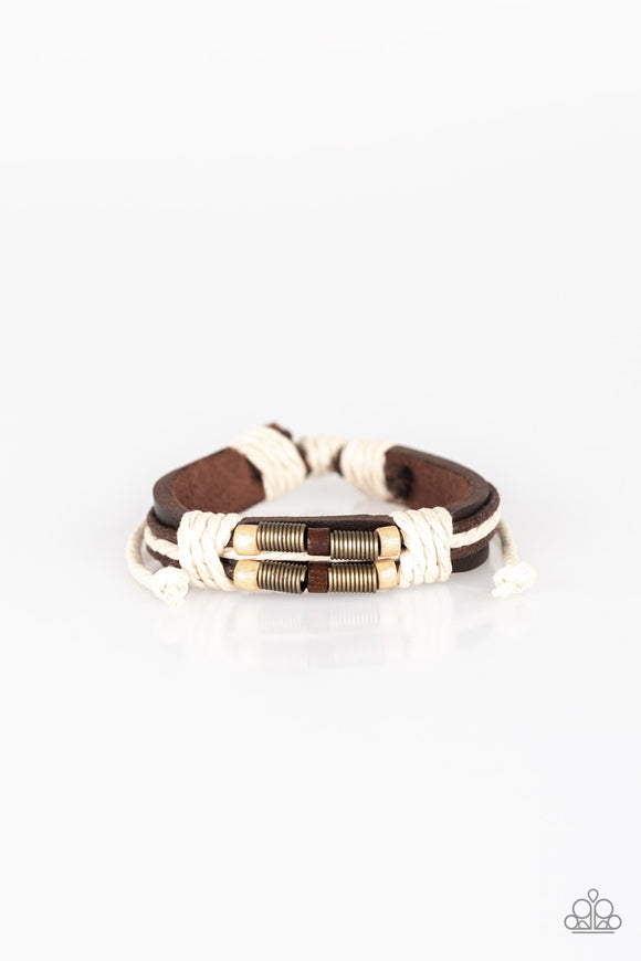 Paparazzi Wonderfully Woodsy - Brown - White Twine Knots - Wooden and Brass Beads - Leather Bracelet - Lauren's Bling $5.00 Paparazzi Jewelry Boutique