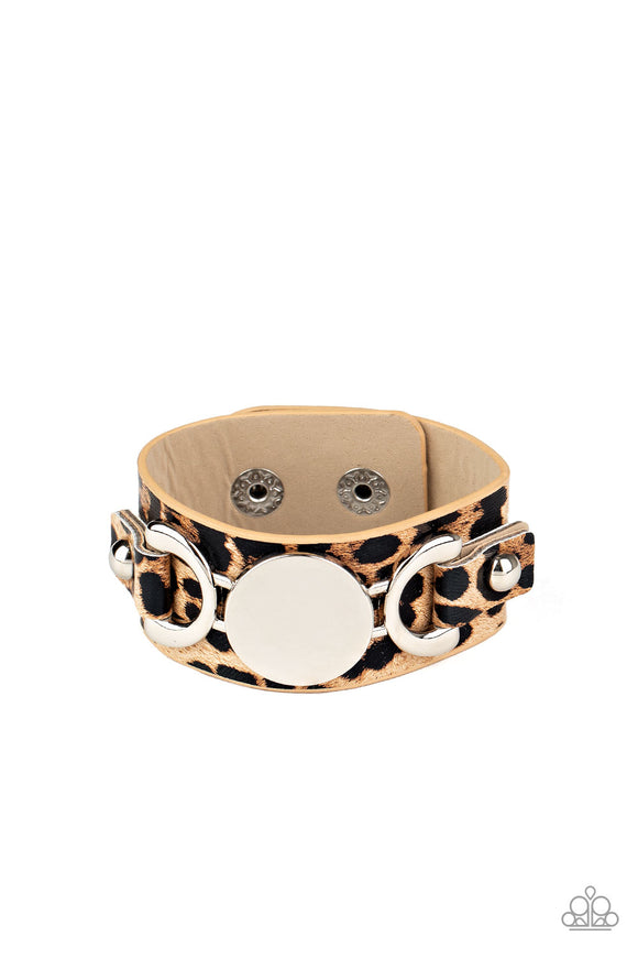 Paparazzi Your Claws are Showing - Brown - Cheetah Print - Thick Leather Band - Bracelet
