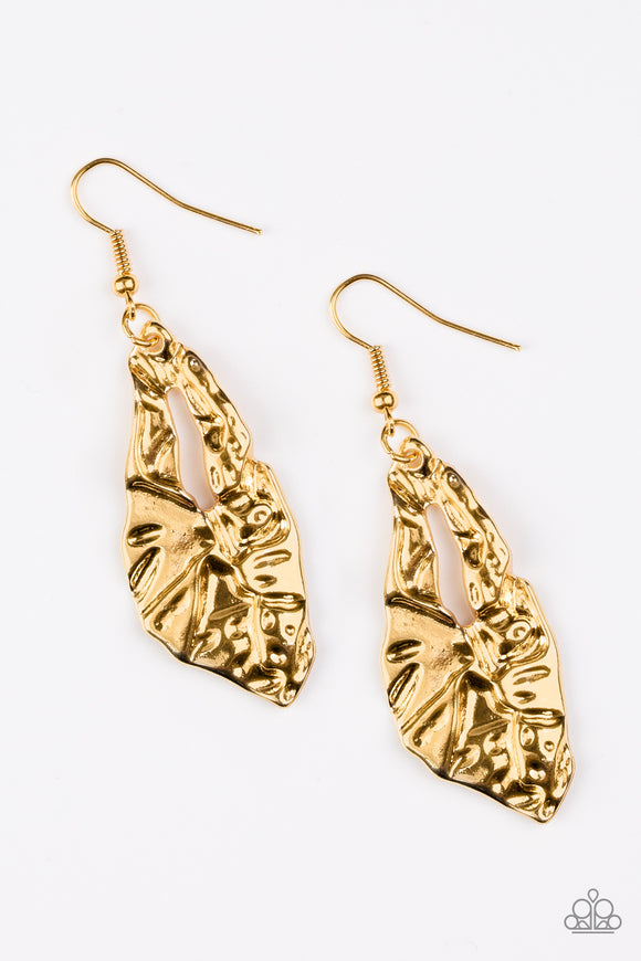 Paparazzi Cave Cavalier - Gold - Hammered Shimmer Teardrop - Earrings - Lauren's Bling $5.00 Paparazzi Jewelry Boutique