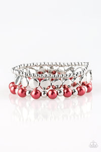 Paparazzi Girly Girl Glamour - Red Pearly Beads / Silver - Set of 3 Bracelets - Lauren's Bling $5.00 Paparazzi Jewelry Boutique
