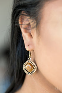Paparazzi Glam Glow - Brass Moonstone - Topaz Rhinestones - Earrings - Lauren's Bling $5.00 Paparazzi Jewelry Boutique
