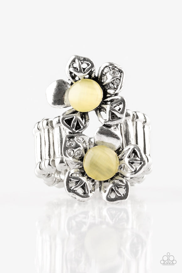 Paparazzi Magnolia Mansions - Yellow - Moonstone, Silver and White Rhinestones - Ring - Lauren's Bling $5.00 Paparazzi Jewelry Boutique