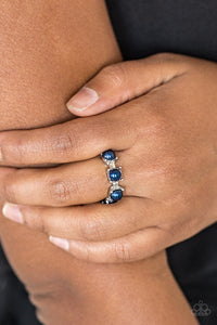 Paparazzi More Or PRICELESS - Blue - Beads - Silver Band Dainty Ring - Lauren's Bling $5.00 Paparazzi Jewelry Boutique