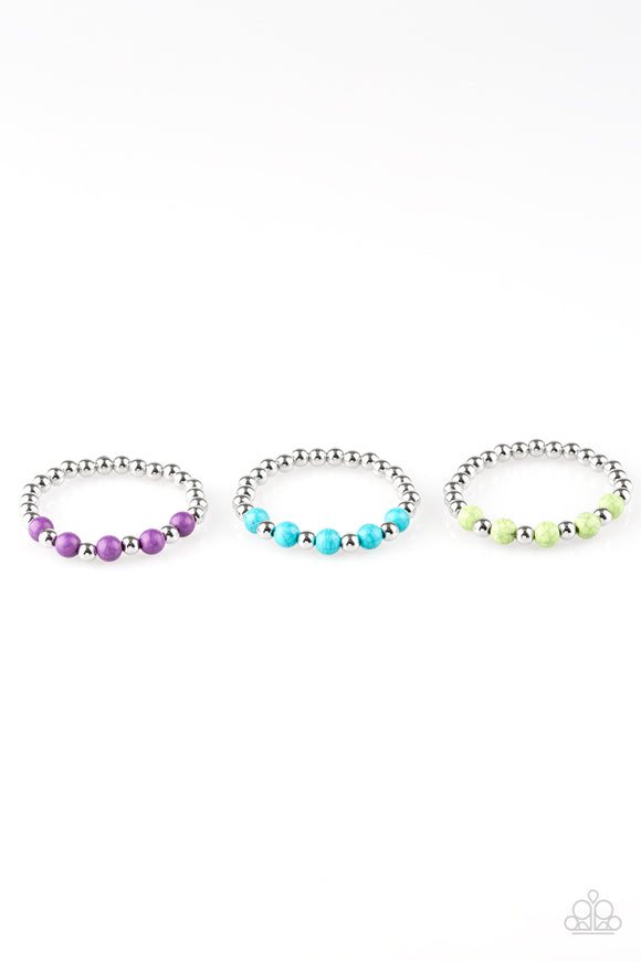 Paparazzi Starlet Shimmer Bracelets - 10 - Silver Beads - Purple, Blue, Green, Red