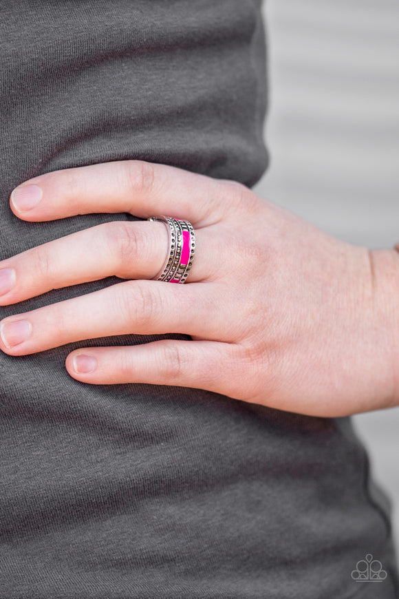 Paparazzi Super Summer - Pink - Textured Silver Frame - Ring - Lauren's Bling $5.00 Paparazzi Jewelry Boutique